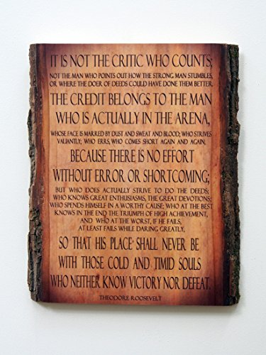 Theodore Roosevelt - Man in the Arena - Quote on Wooden Plaque - Wood Sign by WoodSnacks (Image #3)