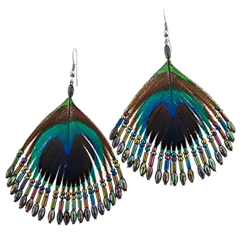 Beaded Iridescent Peacock Feather French Wires ()
