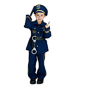 MATISSA Niños Oficial de Policía Juego de Roles Disfraz y Accesorios Niños Niñas (Grande (para Niños de 130-140 cm de Altura), Chicos)