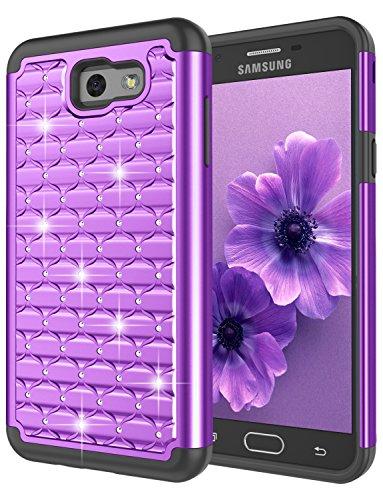 Galaxy J7 2017/J7 V/J7 Perx/J7 Prime/J7 Sky Pro/Galaxy Halo Case, Jeylly Bling Crystal Studded Rhinestone Diamond Case Hybrid Shockproof Dual Layer Defender Protective Case Cover - Purple (Beautiful Girls Cover)