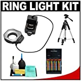 Bower SFD14N Digital Macro Close-Up Ring Light Flash + Tripod + Batteries & Charger + Accessory Kit for Nikon D5000, D3100, D3000, D7000, D300s, D300, D90, D60, D3, D3x, D3s Digital SLR Cameras