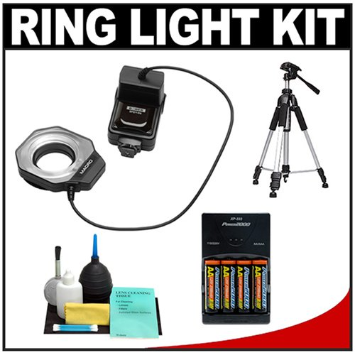 Bower SFD14N Digital Macro Close-Up Ring Light Flash + Tripod + Batteries & Charger + Accessory Kit for Nikon D5000, D3100, D3000, D7000, D300s, D300, D90, D60, D3, D3x, D3s Digital SLR Cameras by Bower