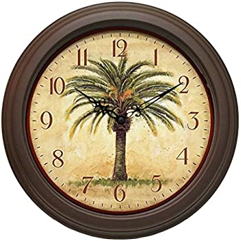 12-inch Brown Clear Display Minute Hand Numerical Display Palm Tree Resin Wall Clock