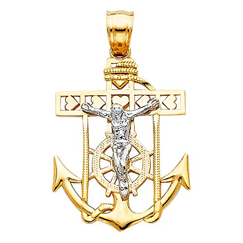 Ships Wheel Pendant - Million Charms 14K Two-tone Gold Religious Mariner Cross Pendant, Yellow Anchor & Ships Wheel, White Jesus Crucifix (26 X 18mm)