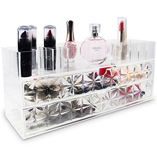 Bath Diamond Jewelry Pattern (Ikee Design Acrylic Cosmetics Makeup and Jewelry Storage Case Display Organizer - Spacious Design - Great for Bathroom, Dresser, Vanity and Counter top (Diamond Pattern))