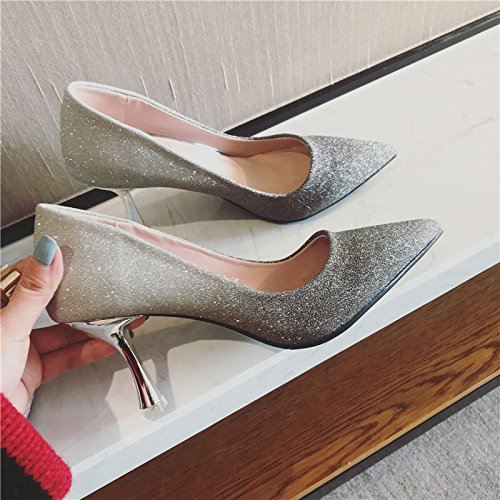 Sequin All Spring High Lady With Gradient Leisure A MDRW Gray Work Color Fine Heeled Fashion Shoes 37 Match Bridemaid Elegant Shoes 6Cm Tip nTxqddz