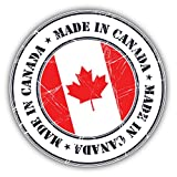 Made In Canada Grunge Flag Stamp Art Decor Bumper Sticker 5'' x 5''