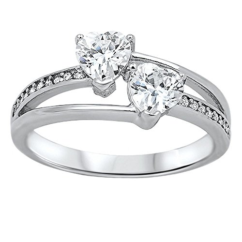 Helena: 1.26ct Heart-cut IOF CZ 2 Hearts in Love Split Band Promise Ring 925 Silver, 3275B sz 7.0 (1.26 Ct Heart)