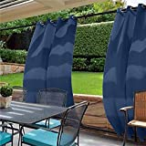 cololeaf Windproof Outdoor Curtain with Top and Bottom Grommet,Water Resistant and Mildew Resistant For Patio Cabana Porch Gazebo Panel Drapery,Navy 84W x 84L Inch (1 Panel)