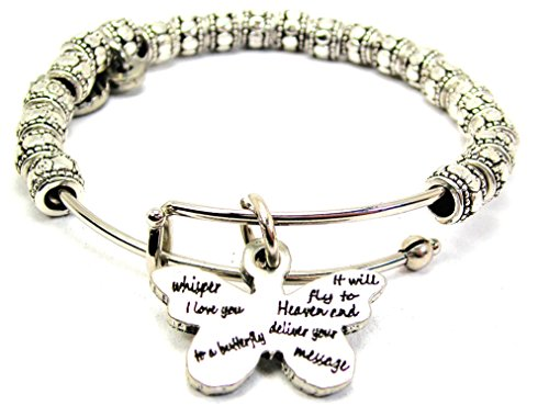 Beaded Expandable Wire Bangles - ChubbyChicoCharms Whisper I Love You to A Butterfly Metal Beaded Expandable Wire Bangle, 2.5