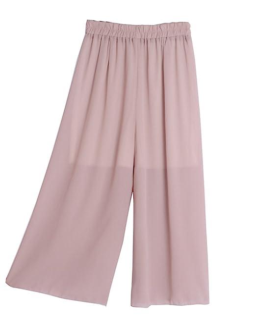 Pantalones De Fiesta Mujer Pantalones Anchos Gasa Cropped Elasticos  Elegante Baggy Cintura Alta Fluidos Pantalon Palazzo Pink Talla única   Amazon.es  Ropa y ... aba87f3729c