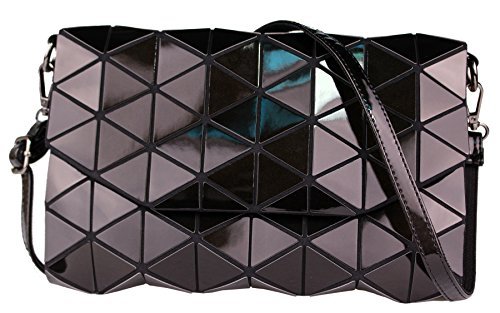 ice Crossbody Shoulder Bags For Women Small PU Leather Holographic Purse (Glossy-Black) ()