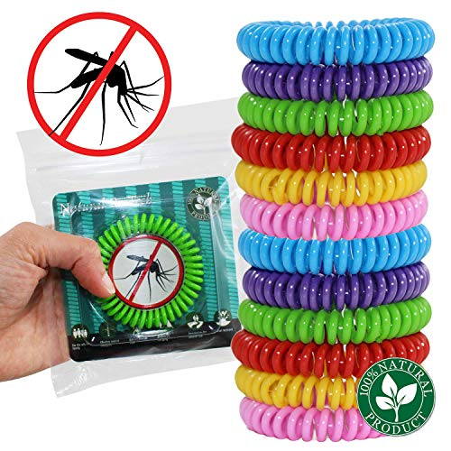Effective Mosquito Repellent Bracelets - 12 Pack, DEET Free, 100% Natural Insect Repeller, No Spray Pest Control Safe for Babies, Kids, Adults. Perfect for Outdoor and Indoor. Waterproof, Multicolors