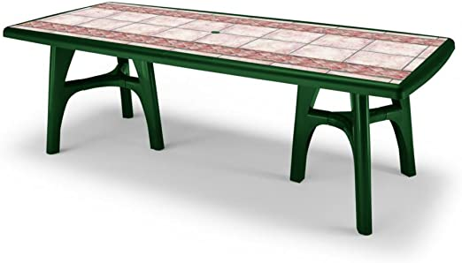 Mesa para exterior extensible, mesa para jardín verde bosque Top Estampado Terracota, mesa 170 All ungabile a 220: Amazon.es: Hogar