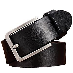 JingHao Belts for Men Genuine Leather Belt for Jeans Dress Black Brown Regular Big and Tall Size 28″-64″