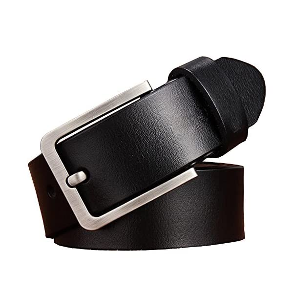 JingHao Belts for Men Genuine Leather Belt for Jeans Dress Black Brown Regular Big and Tall Size 28″-64″