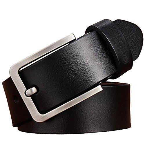 JingHao Belts for Men Genuine Leather Belt for Jeans Dress Black Brown Regular Big and Tall Size 28-64