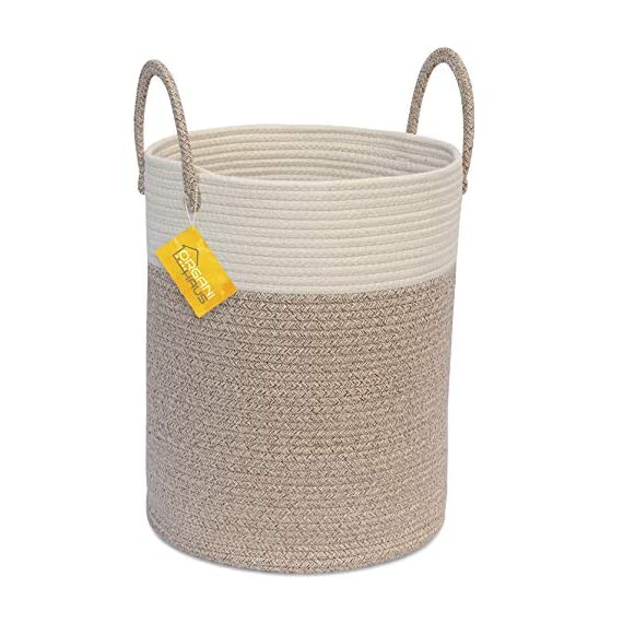 """OrganiHaus XL Large Rope Laundry Basket – Tastefully Appointed Extra Large Decorative Hamper, 100% Natural Cotton Storage Basket, Rope Basket, Toy Basket, Blanket Basket, Pillow Basket - 15"""" x 18"""" - ⭐️ LOVELY OFF WHITE WITH WICKER BROWN BASE - This has a pure, natural vibe and beautiful look. These go well in any room in your home. The Jongui is a special creation our customers love. Choose from two popular sizes. Many people buy both to fully outfit their living room, laundry, and bedroom. 100% natural hand woven basket you won't want to be without ⭐️ CHOOSE FROM TALL OR WIDE SHAPED - This tall basket makes a natural way to store and organize clothing, big pillows, blankets, kids toys, and a variety of supplies and craft accessories. We like how one is quite compact for small spaces while the oversized basket spreads out to accommodate bulkier items like large blankets and throw pillows ⭐️ ECO-FRIENDLY NATURAL HANDMADE cotton rope has no plastic, harsh chemicals, toxins, or harmful additives. Safe for kids and perfect for nursery storage too. Big easy-carry handles make this basket the most portable. Compare to other baskets with small handles that need both hands to carry or plastic ones that hurt you - laundry-room, hampers-baskets, entryway-laundry-room - 51BFAcLtR1L. SS570  -"""