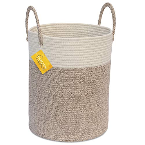 OrganiHaus Cotton Rope Basket in Brown and Off-White | Tall Blanket Storage Basket with Long Handles | Decorative Hamper Basket | Soft Toy Storage Bin | Perfect as Laundry or Clothes Hamper (Brown Laundry Hamper)