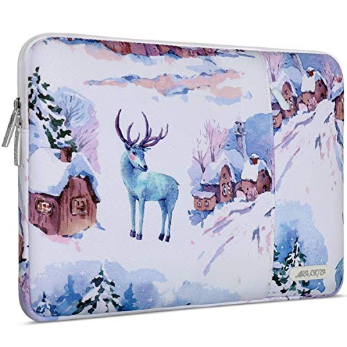 MOSISO Laptop Sleeve Compatible with 13-13.3 inch MacBook Pro, MacBook Air, Notebook Computer, Water Repellent Polyester Vertical Carrying Case Cover Bag with Pocket, Moose Snow Houses
