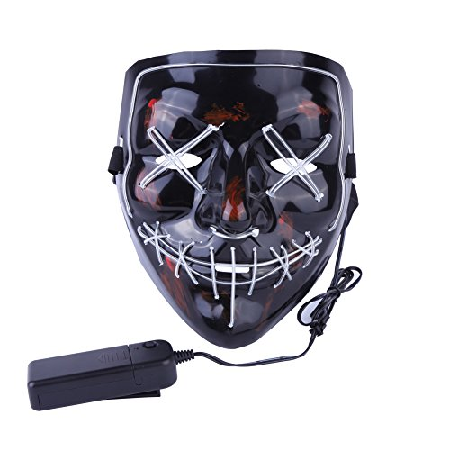 Wenasi Halloween LED Mask Costume Mask EL Wire Light up Mask Festival Cosplay Halloween -