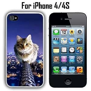 Cat On Fence Custom Case/ Cover/Skin *NEW* Case for Apple iPhone 4/4S - White - Plastic Case (Ships from CA) Custom Protective Case , Design Case-ATT Verizon T-mobile Sprint ,Friendly Packaging - Slim Case
