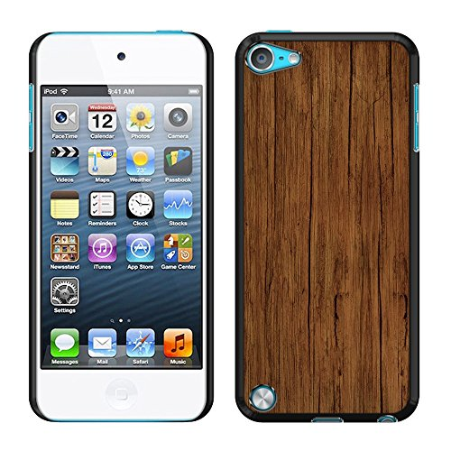 FINCIBO Case Compatible with Apple iPod Touch 5 6 7th Gen 2019, Back Cover Slim Fit Hard Plastic Protector for iPod Touch 5 6 7 - Red Brown Wood (Wood Case 5 Ipod)