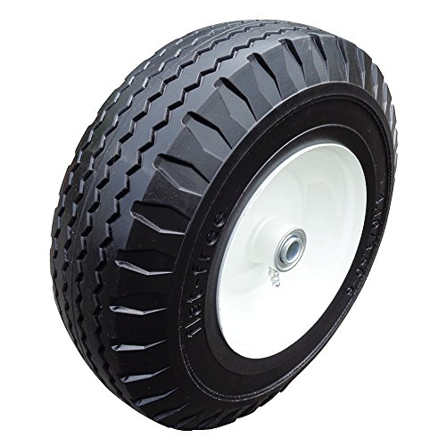Fortitude Machines 2-Pack 4.10/3.50-6'' Flat Free Tire with Steel Rim, 3'' Centered Hub 5/8'' Ball Bearings Flat Free Hand Truck Tire on Wheel by Fortitude Machines