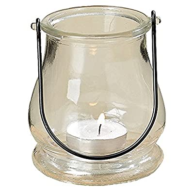 "The Rustic Bell Shaped Clear Glass Air Plant Holder, Terrarium or Votive Candle Hurricane with Handle, 4"" Tall, By Whole House Worlds"