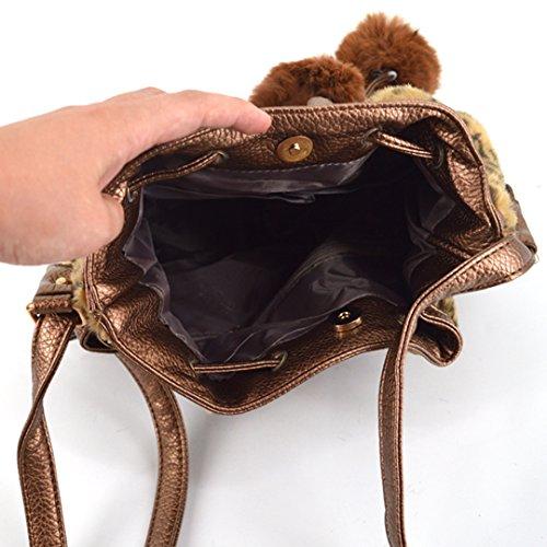 Bucket Bags Shoulder Bag Drawstring LA Leopard Faux Brown HAUTE Fluffy Mini Winter Bags Casual Fur Crossbody Women BtxqU6x8w