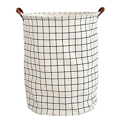 XHSP Heavy Duty Durable Canvas Fabric Laundry Hampers Baskets Foldable Round Hamper Closet Storage Bin Bag