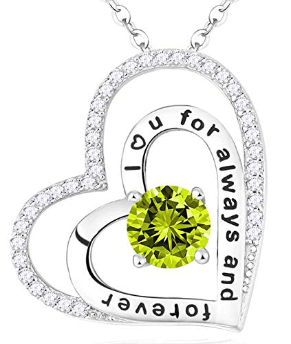 - August Birthstone Jewelry Green Peridot Necklace Birthday Gifts I love you for always and forever pendant Sterling Silver Double Hearts Necklace Anniversary Gifts for Women Wife Girls