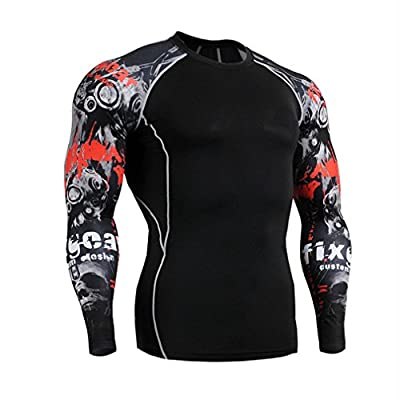 Compression T-shirt, ADiPROD Quick Dry Men's Long Sleeve Workout Training Football Soccor Cycling Polyester Jersey Wear Clothing Shirt Sports