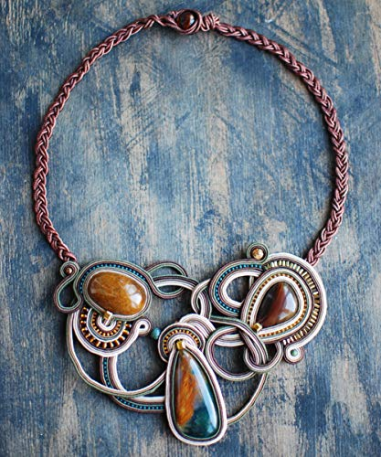 Soutache handmade statement embroidered beige gold orange brown green necklace with jasper, Beaded big assymetric necklace, Fabric oriental bohemian sparkly rhinestone evening cocktail jewelry (Jasper Necklace Fabric)