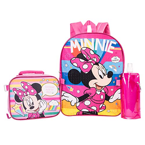 Minnie Mouse Backpack Combo Set - Disney Minnie Mouse Girls' 4 Piece Backpack Set - Backpack & Lunch Kit -