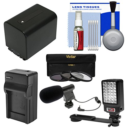 Essentials Bundle for Sony Handycam HDR-PJ540, HDR-PJ670 & HDR-PJ810 Camcorders with LED Light + Microphone + NP-FV70 Battery & Charger + Filters Kit by VidPro