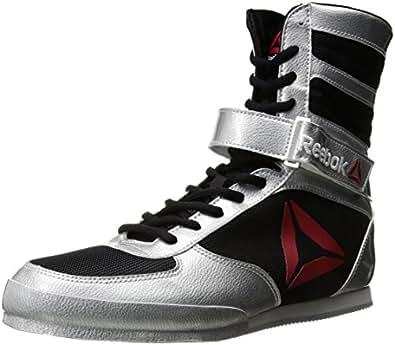 Reebok Men's Boot Boxing Shoe, Patent-Delta-Silver Metallic/Black/White, 8 M US
