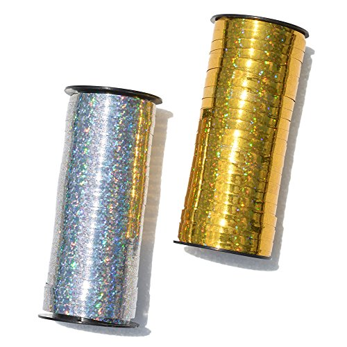 DTTUN Poly Crimped Curling Ribbon Roll Silver Balloon Ribbons for Parties, Festival, Florist, Crafts and Gift Wrappings, 5 mm by 100-Yard