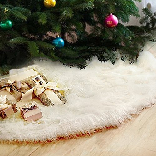 Mangadua Plush Christmas Tree Skirt Party Decoration,Ivory (78cm/30.4