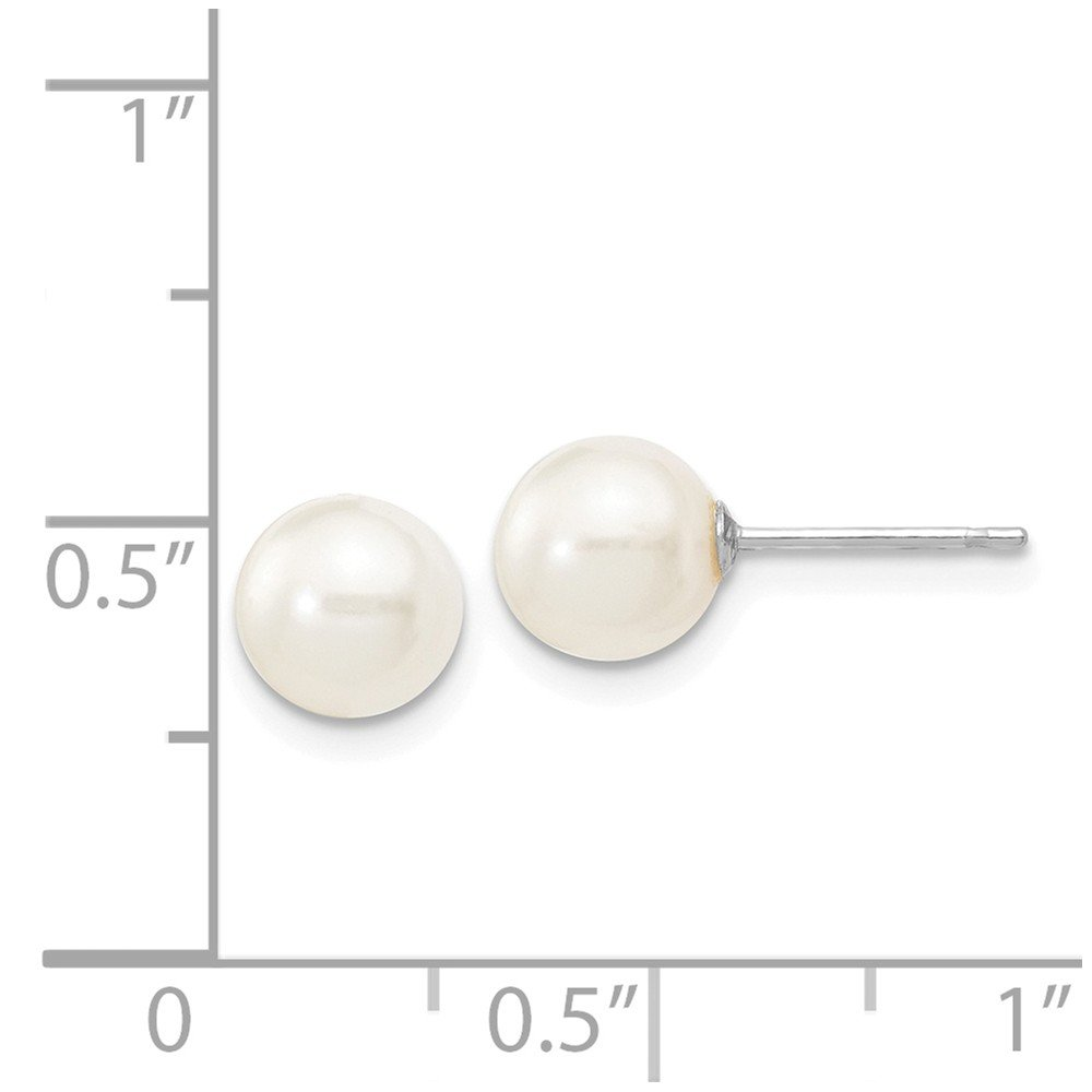 14k White Gold 6-7mm White Round Freshwater Cultured Pearl Stud Post Earrings
