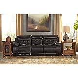 Ashley Furniture Signature Design - Graford Leather Power Sofa w/Adjustable Headrest - Contemporary - Walnut