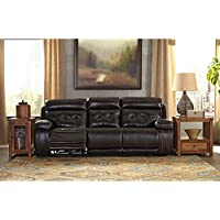 Ashley Furniture Signature Design - Graford Leather Power Sofa w/ Adjustable Headrest - Contemporary - Walnut