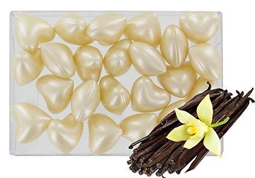 Scatola da 24perle con olio da bagno –a forma di cuore–fragranza vaniglia S&B SB110BTE24COEURBLC