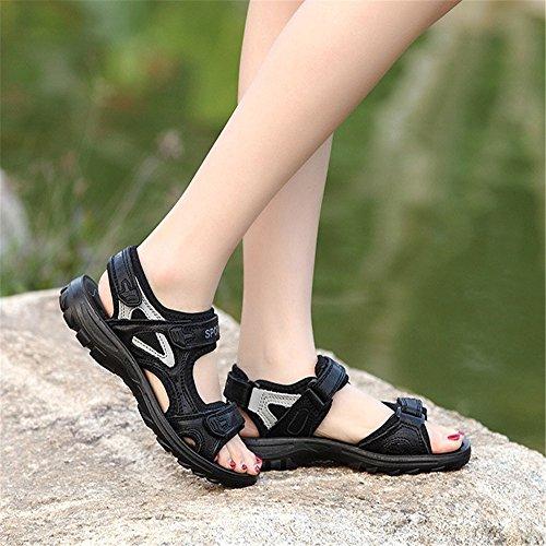 Cuero Sandalias Verano Las Sandalias De Mujeres De del De Planas De Zapatos Casuales Negro Playa Senderismo Sandalias qp1Fwq