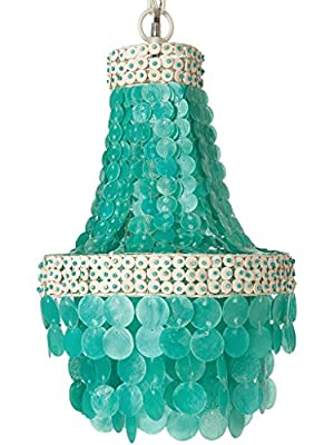 KOUBOO Manor Chandelier, Capiz Seashell, Small, Turquoise