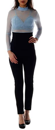 letzte auswahl von 2019 schnell verkaufend Steckdose online CHARIS MODA Jumpsuit Overall elegant Langarm transparent mit ...