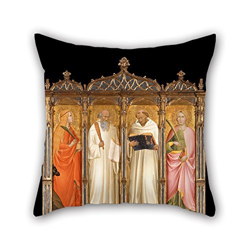 (Hsdfnmnsv Oil Painting Gaddi, Agnolo - St. Mary Magdalene, St. Benedict, St. Bernard of Clairveaux and St. Catherine of Alexandria Throw Pillow Covers 16 X 16 Inches/Gift Or Decor for Bench He)