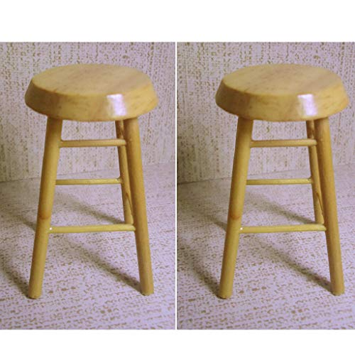 Log Pub Stool - NATFUR 2Pieces 1:12 Dollhouse Miniature Wooden Stool Chair Dollhouse Pub Bar Chair