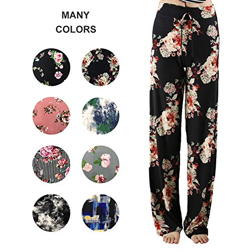 a31c10efa14 Buttery Soft Pajama Pants for Women – Floral Print Drawstring Casual Palazzo  Lounge Pants Wide Leg