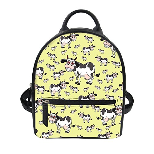 Bigcardesigns Backpack Leather Walking Short Yellow Cow for Cartoon Cartoon Bag Daily PU Women Girl AtEqrA
